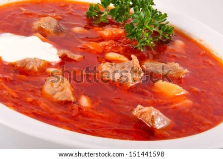Russian cuisine - borsch - stock photo
