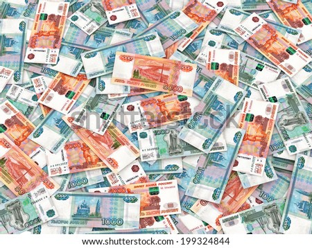 Russian currency - heap of russian ruble banknotes - stock photo