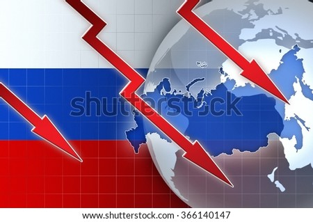 Russian currency ruble crisis - concept news background illustration
