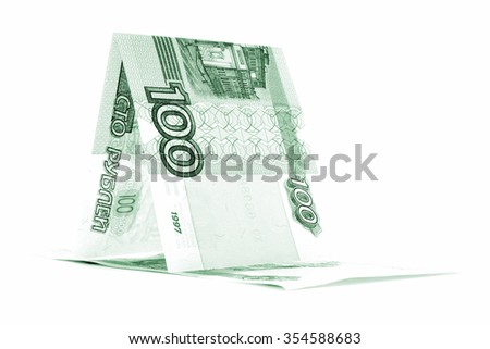 Russian currency ruble hutch, rouble cabin, isolated on white background