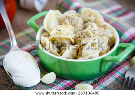 Russian dumplings boiled with meat on the plate - stock photo