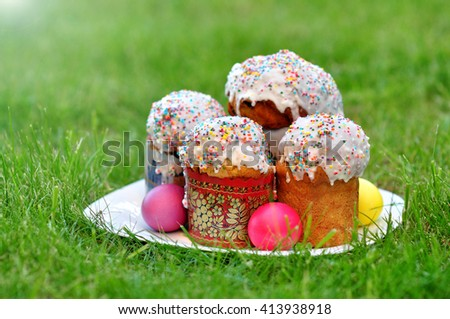 Russian Easter Bread and eggs - stock photo
