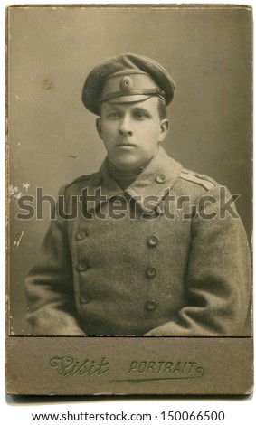RUSSIAN EMPIRE - CIRCA 1915: Antique photo shows studio portrait of Russian Army officer, 1915