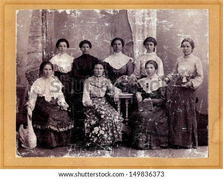 RUSSIAN EMPIRE - CIRCA 1900s: Antique photo shows group of women, 1900s