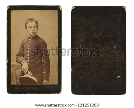 RUSSIAN EMPIRE - CIRCA 1880: Vintage photo of a schoolboy Odessa gymnasium, and its downside, circa 1880. - stock photo