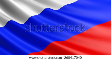 Russian Federation flag fluttering in wind. - stock photo