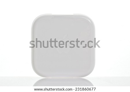 RUSSIAN FEDERATION, SOCHI - NOVEMBER 20, 2014: apple earpods original case isolated on white background on 20 november 2014 in Russian Federation Sochi
