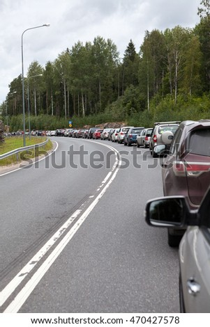 Russian-Finnish border, the queue of cars to Finland custom checkpoint