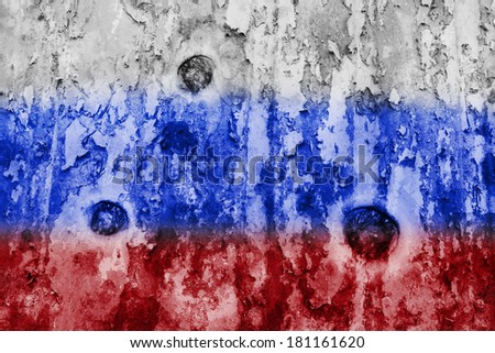 Russian flag on a weathered grunge background - stock photo