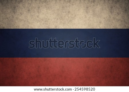 Russian flag on concrete textured background - stock photo