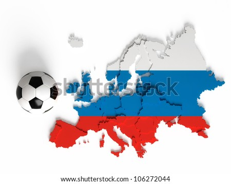 Russian flag on European map with national borders, isolated on white background - stock photo
