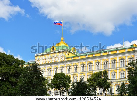 Russian flag on Grand Kremlin Palace, Moscow, Russia - stock photo