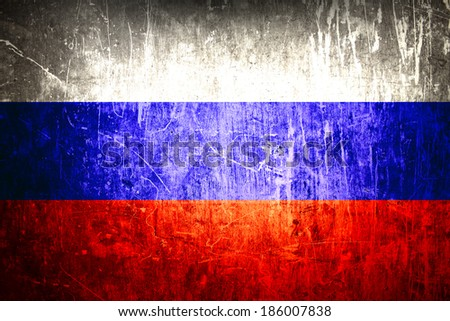 Russian flag on grunge background - stock photo