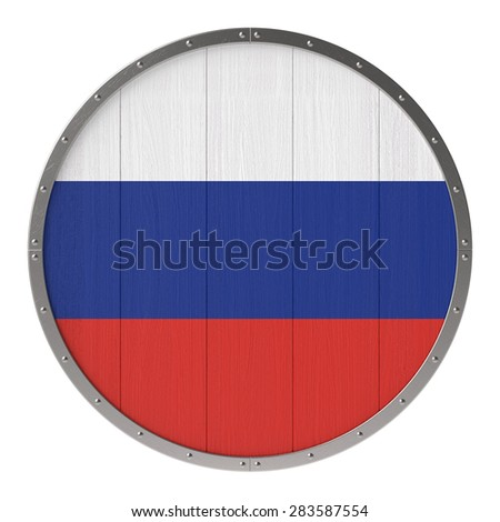 Russian flag on round wooden shield with steel frame - stock photo