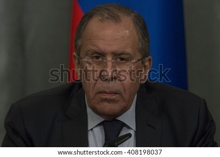 Russian Foreign Minister Sergey Lavrov during a joint press conference with French Foreign Minister Jean-Marc Ayrault in Moscow, Russia, on April 19, 2016.