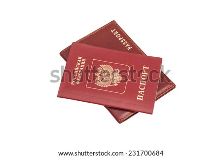 Russian Foriegn Passports isolated on white - stock photo