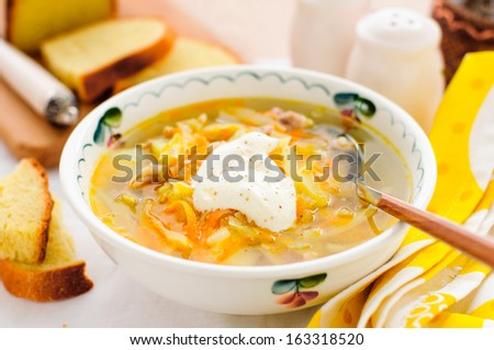 Russian Fresh Cabbage Soup, Shchi (Stchi) with Sour Cream - stock photo