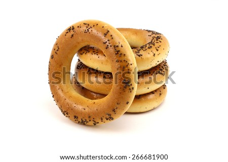 Russian fresh poppy bagels on a white background - stock photo