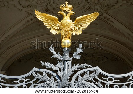 Russian gold double-headed eagle in the Hermitage, St. Petersburg                     - stock photo