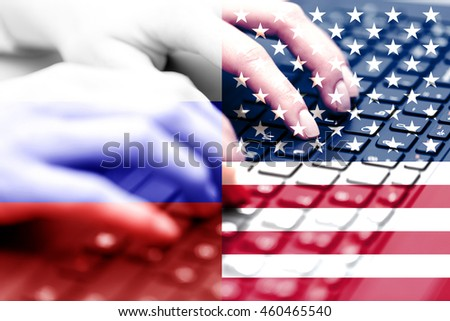 Russian hacking USA. Concept of hacking into the computer.