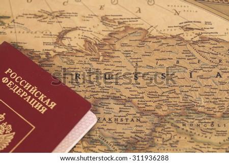 Russian International passport on map close up - stock photo