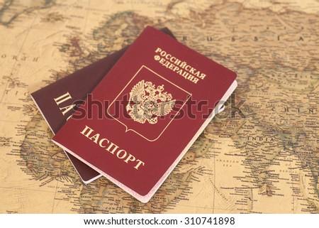 Russian International passports on map close up - stock photo