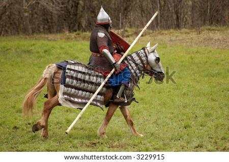 Russian knight on horse - stock photo