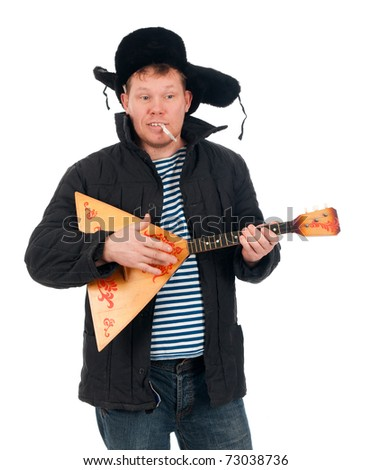Russian man with balalaika,red-neck.isolated on white background - stock photo