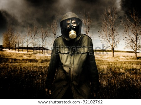 Russian Military Fighter Standing In A Dead Autumn Field As Contaminated Poisonous Air Falls From The Sky During An Attacking Air Raid Bomb - stock photo