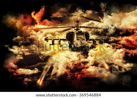 Russian military helicopter. Stylized photo.