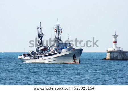 Russian military ship at sea, Sevastopol, Crimea, Russia