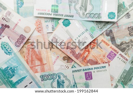 Russian money background. Rubles banknotes closeup texture - stock photo