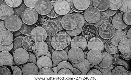 Russian money - coins rubles , background - stock photo