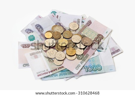 Russian money isolated on white background - stock photo
