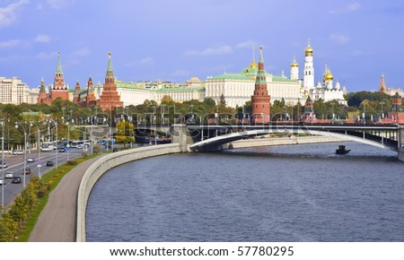Russian Moscow Kremlin. bridge and the Moskva river - stock photo