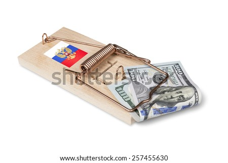 Russian mouse trap with dollar bill isolated over white with clipping path. - stock photo