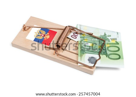 Russian mouse trap with Euro bill isolated over white with clipping path. - stock photo