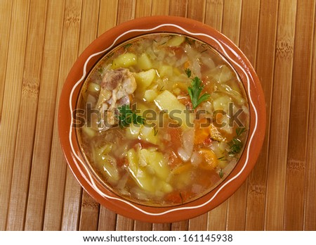 Russian national cabbage soup - stchi  with beef - stock photo