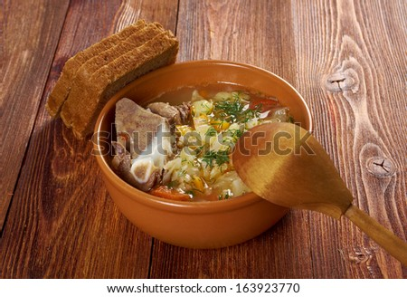 Russian national cabbage soup - stchi  with beef.arm-style - stock photo