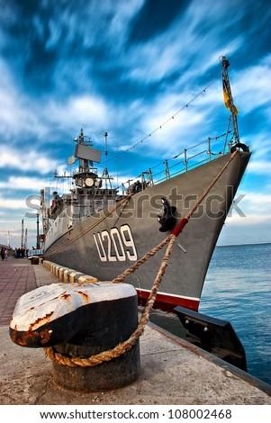 Russian Navy Battle War Ship at the dock - stock photo