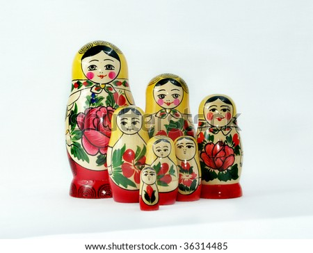 Russian nesting dolls, isolated on white