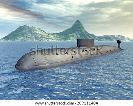 Russian Nuclear Submarine of the Cold War Computer generated 3D illustration - stock photo