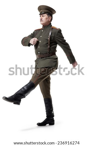 russian officer isolated on white