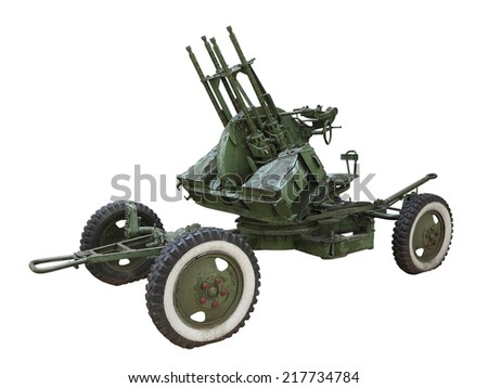 Russian old green anti-aircraft gun isolated over white background - stock photo