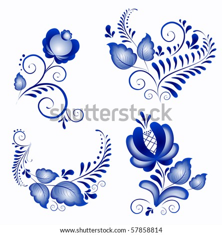 Russian ornaments in gzhel style.  Gzhel (a brand of Russian ceramics, painted with blue on white). The vector version - in a portfolio
