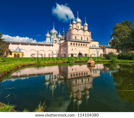 Russian orthodox cathedral in Rostov Kremlin, Golden Ring, Russia - stock photo