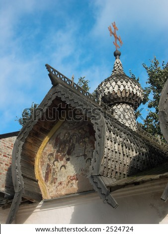 Russian orthodox fresco in Novgorod took against blue sky - stock photo