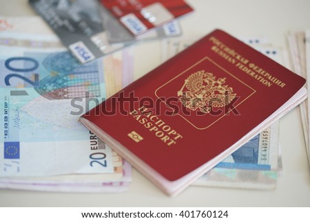 Russian passport and currency of various countries