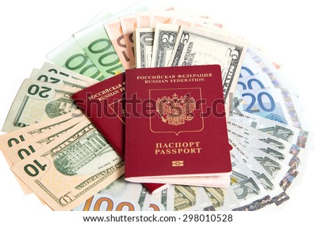 Russian passport and currency on a white background.