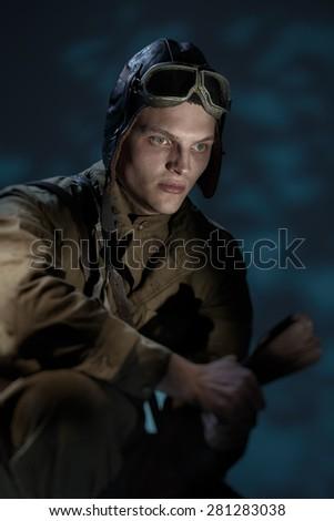 Russian pilot of the Second World War - stock photo